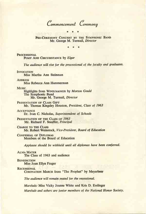 1963 Commencement Program